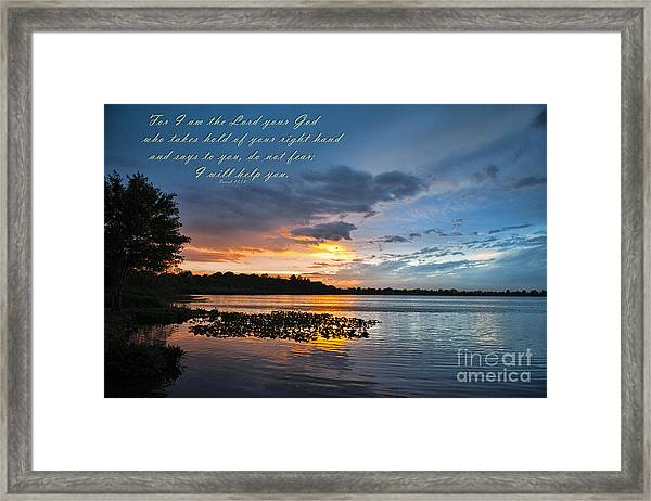 Isaiah 41 13 And Sunset Framed Print