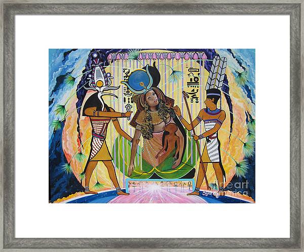 Blaa Kattproduksjoner     Presents Isis Giving Birth To Horus Framed Print
