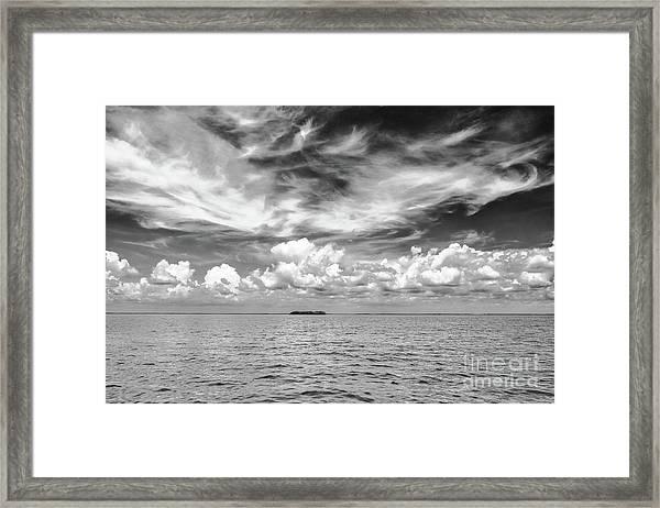 Island, Clouds, Sky, Water Framed Print