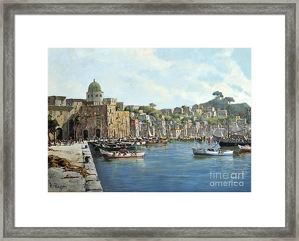 Island Of Procida - Italy- Harbor With Boats Framed Print