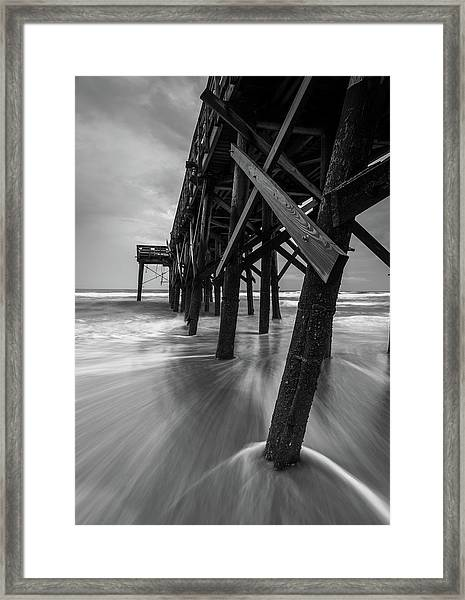 Isle Of Palms Pier Water In Motion Framed Print