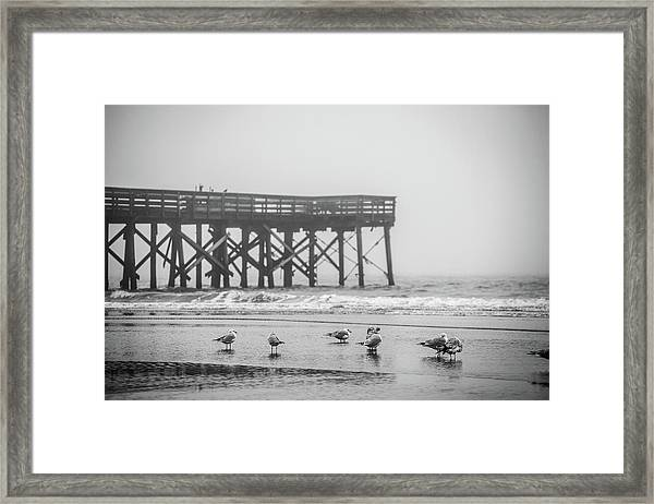 Isle Of Palms Pier And Fog Framed Print