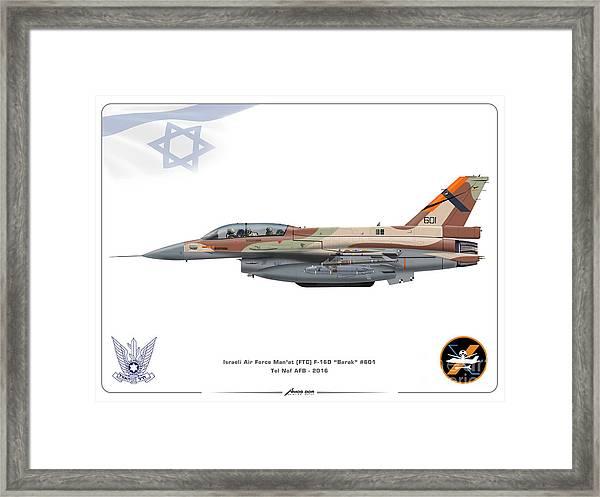 Israeli Air Force F-16d Barak - Ftc Framed Print