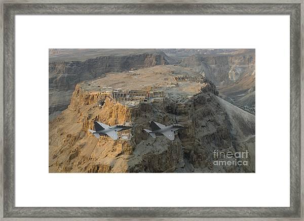 Israeli Air Force Lavi Over Massda  Framed Print