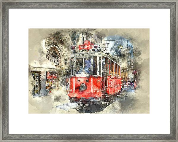Istanbul Turkey Red Trolley Digital Watercolor On Photograph Framed Print