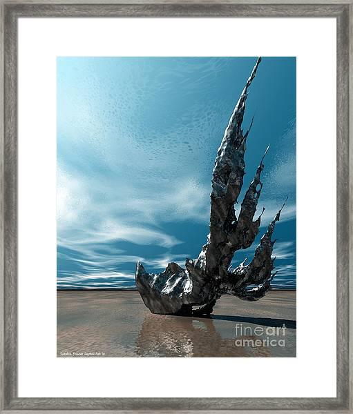 Framed Print featuring the digital art It Fell To Earth by Sandra Bauser Digital Art