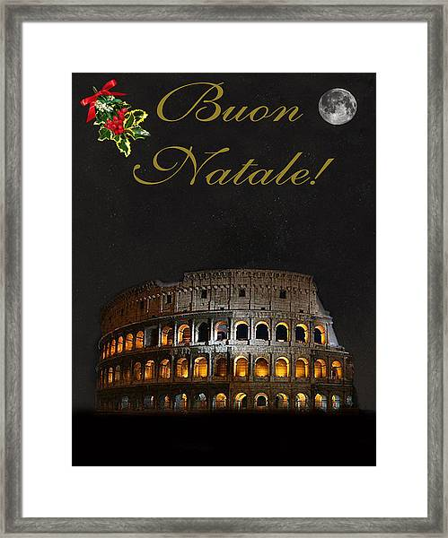 Framed Print featuring the mixed media Italian Christmas Card Rome by Eric Kempson