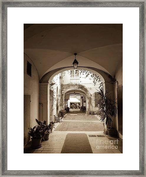 Italian Courtyard  Framed Print