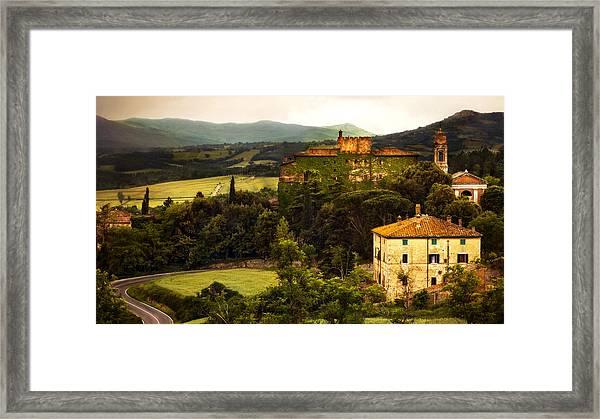 Italian Castle And Landscape Framed Print