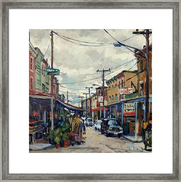 Italian Market Philadelphia Rainy Framed Print