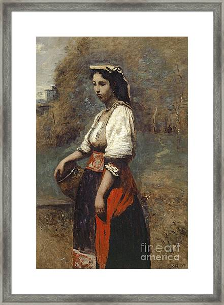 Italian Woman At The Well Framed Print