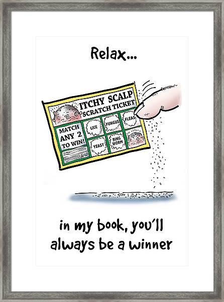 Itchy Scalp Scratch Ticket Framed Print