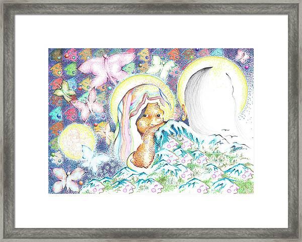 Itzpapalotl Y La Joven Virgin Framed Print