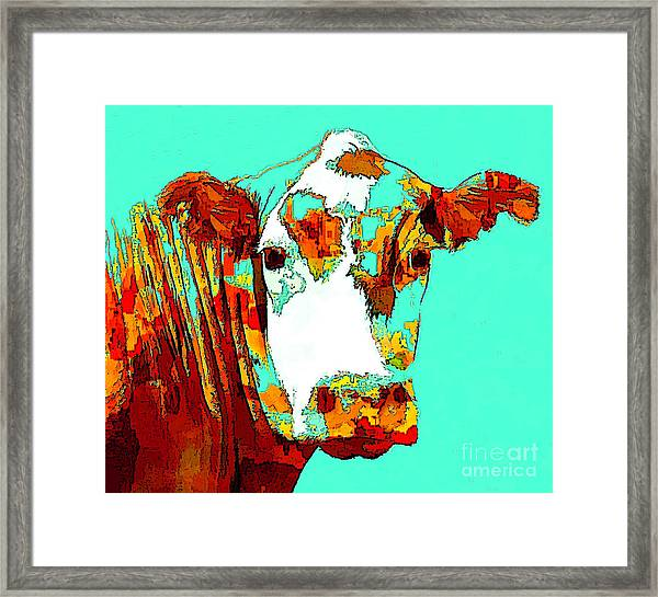 Turquoise Cow Framed Print