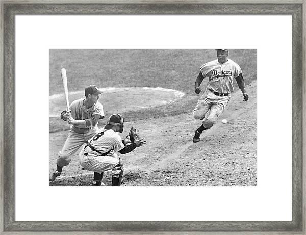 Jackie Robinson Stealing Home Yogi Berra Catcher In 1st Game 1955 World Series Framed Print