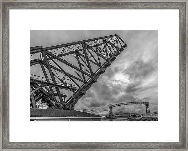 Jackknife Bridge To The Clouds B And W Framed Print