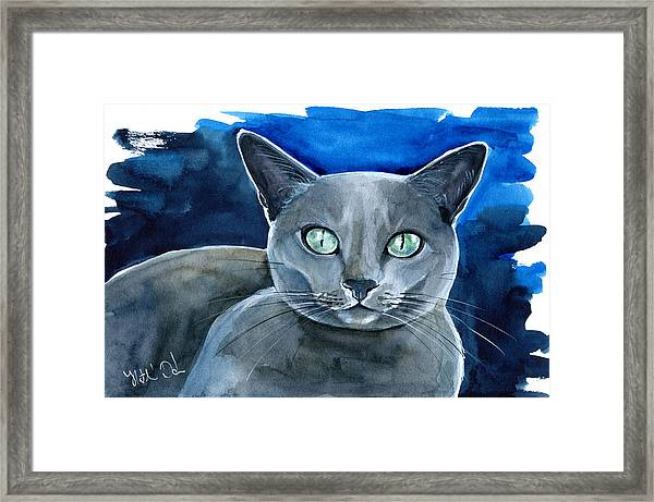 Jackpot - Russian Blue Cat Painting Framed Print