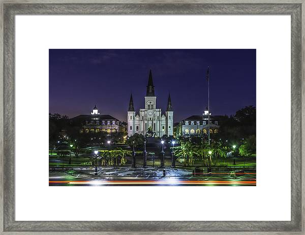 Jackson Square And St. Louis Cathedral At Dawn, New Orleans, Louisiana Framed Print