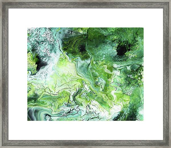 Jade- Abstract Art By Linda Woods Framed Print