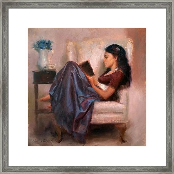 Jaidyn Reading A Book 2 - Portrait Of Woman Framed Print