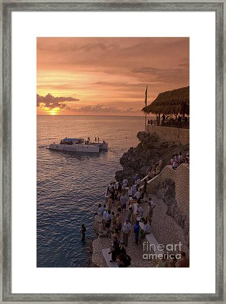 Framed Print featuring the photograph Jamaica Negril Ricks Cafe by Juergen Held