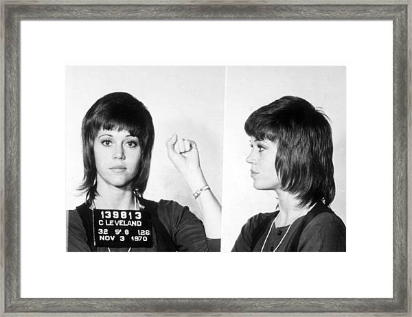 Jane Fonda Mug Shot Horizontal Framed Print
