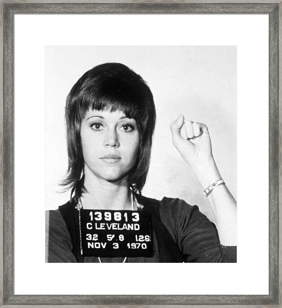 Jane Fonda Mug Shot Vertical Framed Print