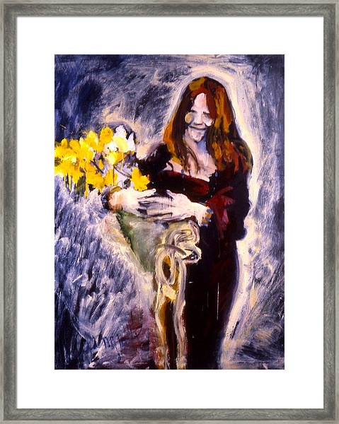 Janis With Yellow Roses Framed Print