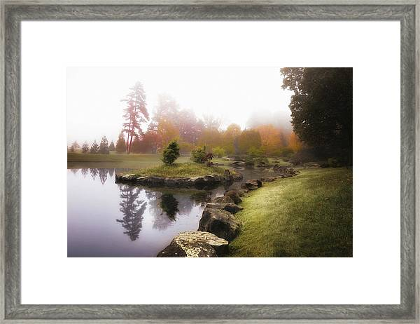 Japanese Garden In Early Autumn Fog Framed Print