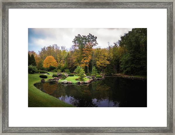 Japanese Garden In Early Autumn Framed Print