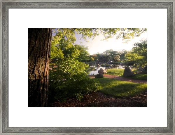 Japanese Garden In The Morning Framed Print