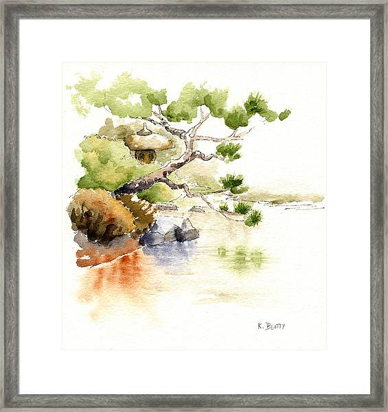 Japanese Garden Pond Sketch Framed Print