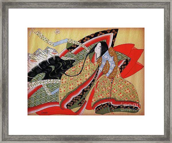 Japanese Textile Art Framed Print