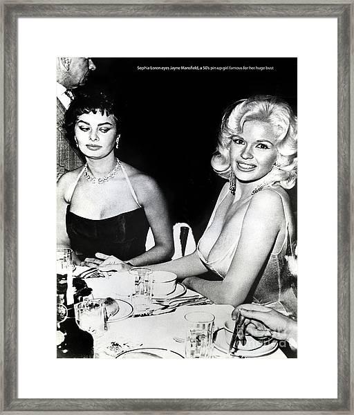 Jayne Mansfield Hollywood  Actress Sophia Loren 1957 Framed Print