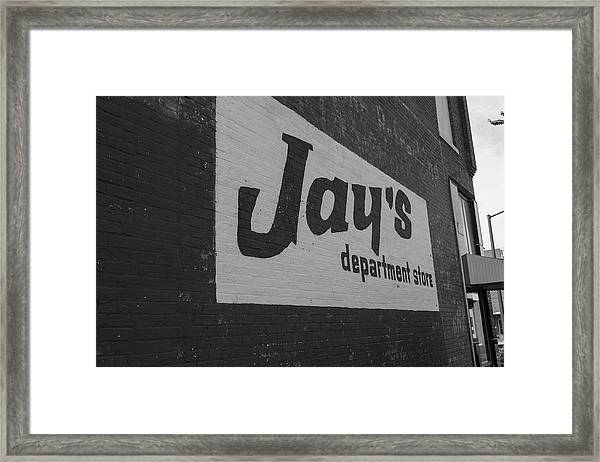 Jay's Department Store In Bw Framed Print