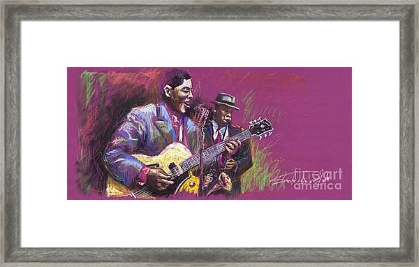Jazz Guitarist Duet Framed Print