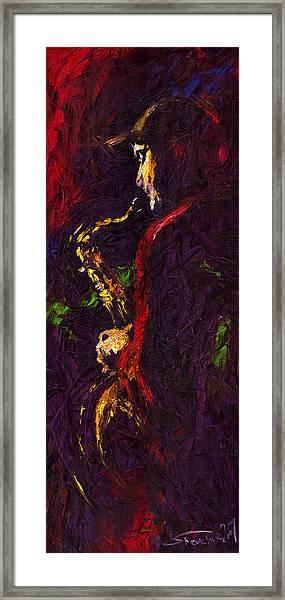 Jazz Red Saxophonist Framed Print