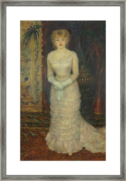 Jeanne Samary Framed Print by Pierre Auguste Renoir