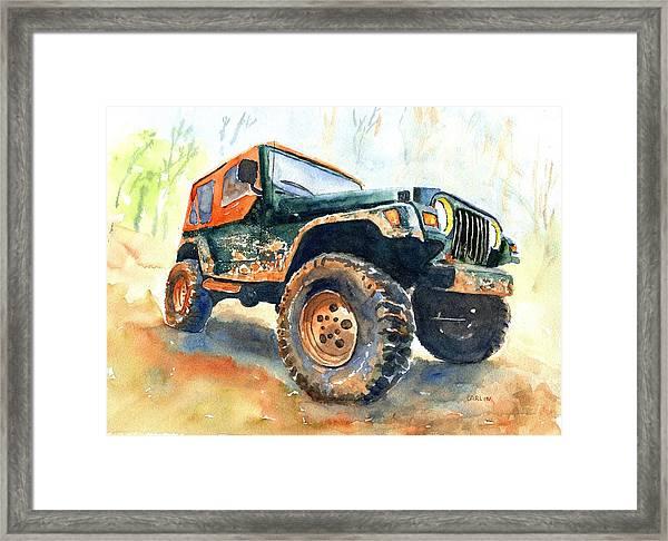 Jeep Wrangler Watercolor Framed Print