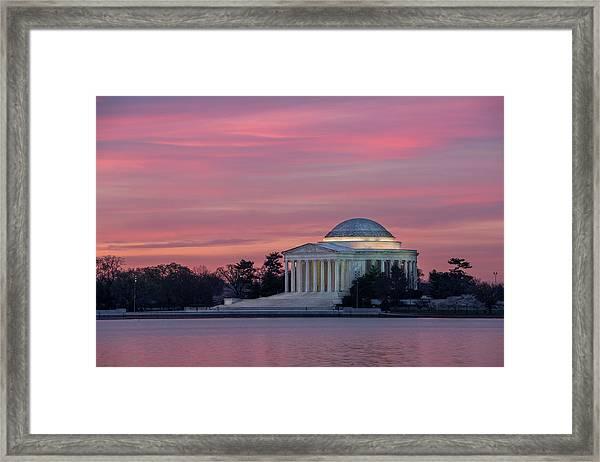 Jefferson Memorial Sunrise Framed Print by Michael Donahue