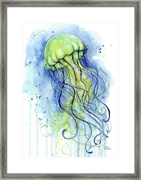 Jellyfish Watercolor Framed Print