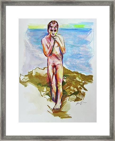 Jeremy At The Beach Framed Print