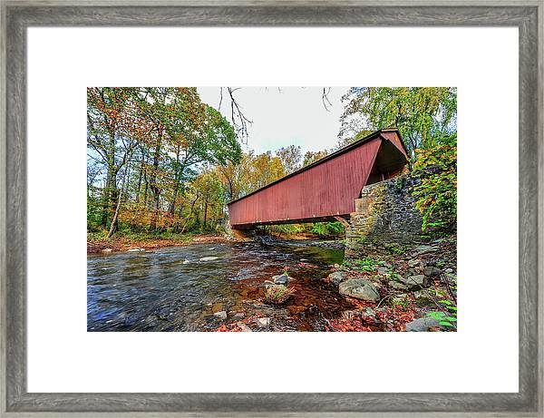 Jericho Covered Bridge In Maryland During Autumn Framed Print