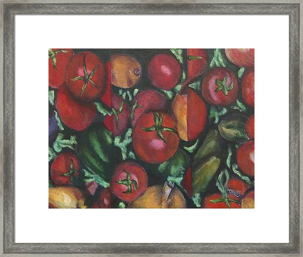 Jersey Tomatoes With A Dash Of Abstract Framed Print