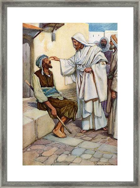 Jesus And The Blind Man Framed Print