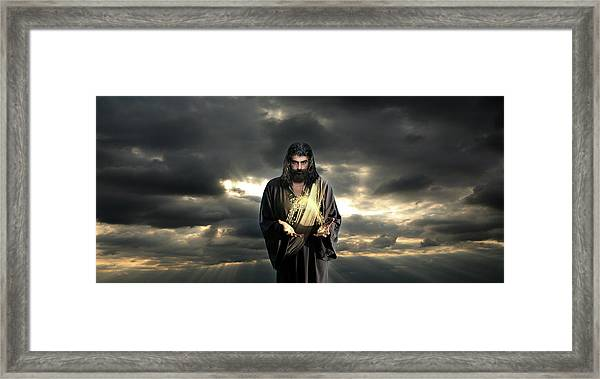 Jesus In The Clouds Framed Print