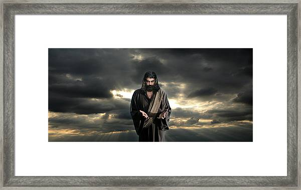 Jesus In The Clouds With Glory Framed Print