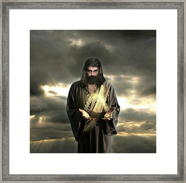 Jesus In The Clouds With Radiant Power Framed Print
