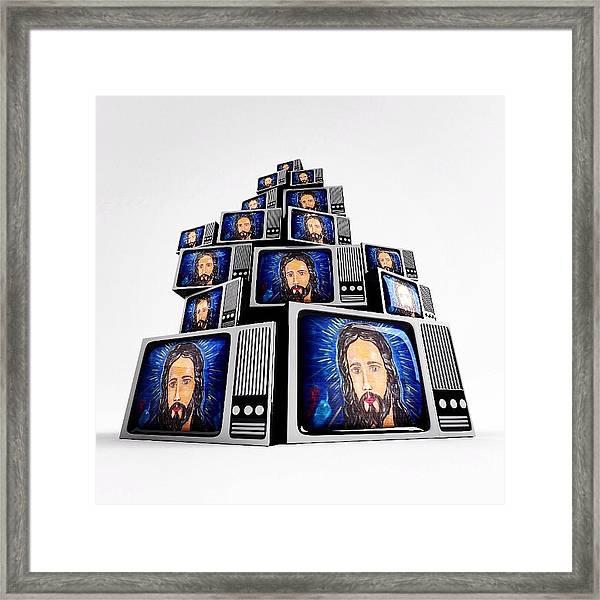 Jesus On Tv Framed Print