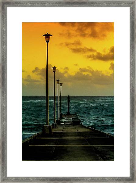 Jetty At Sunrise Framed Print